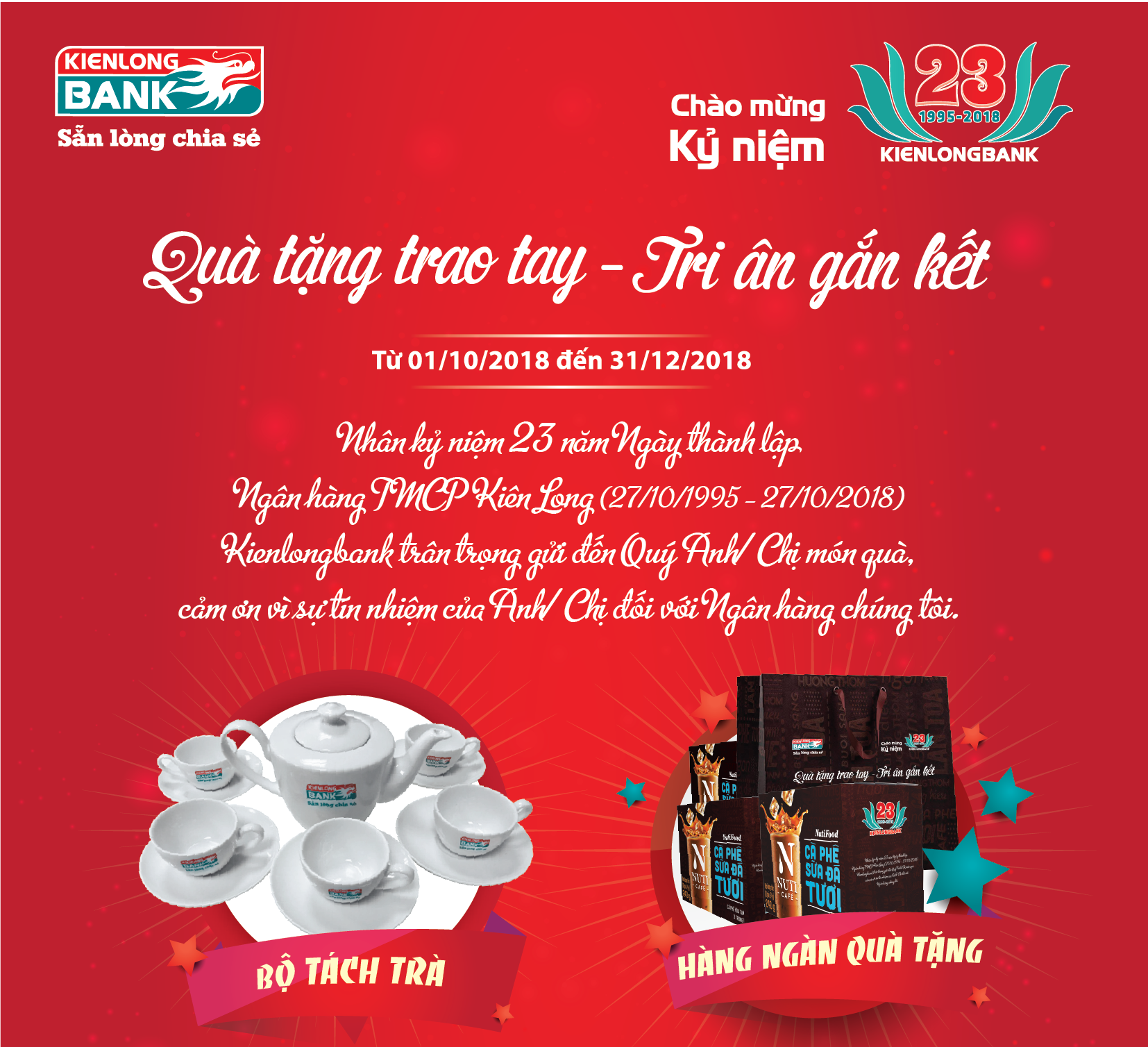 Handing gifts – Be grateful to customer for connecting in occasion of Kienlongbank 23rd Founding Anniversary