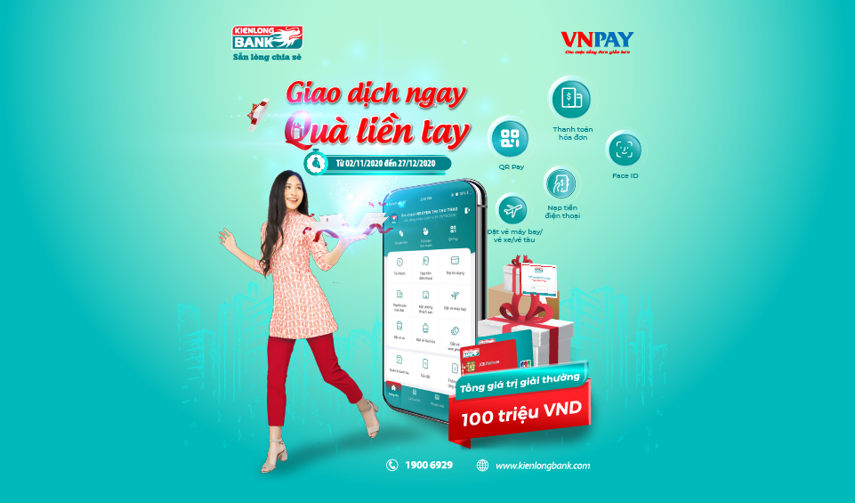 """Instant transaction - Instant gift"" with Kienlongbank mobile banking"