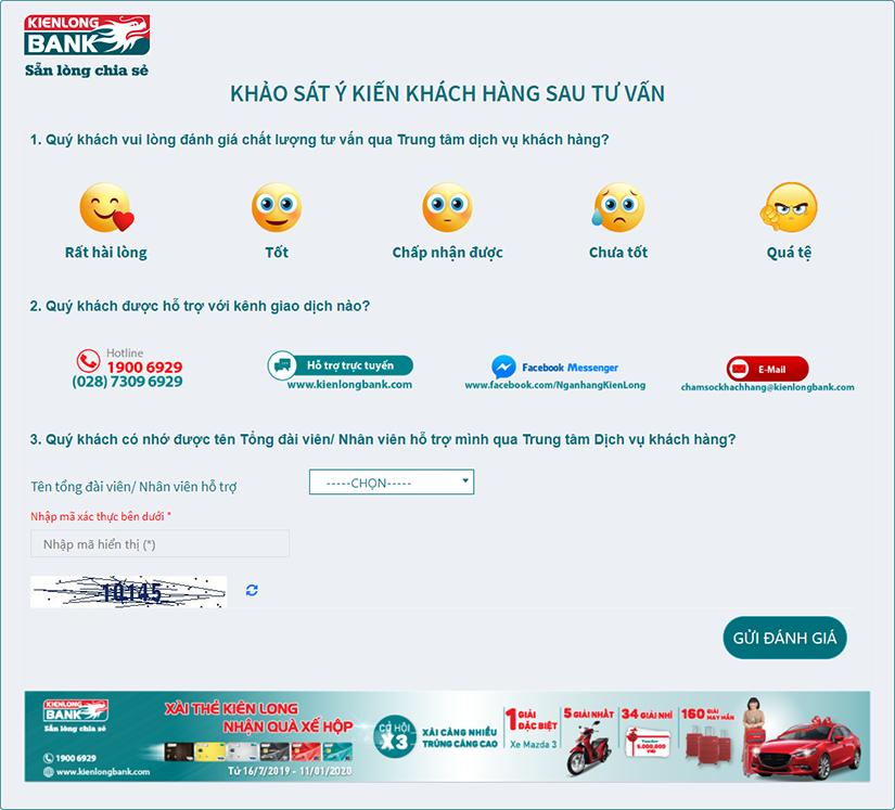 Kienlongbank khảo sát ý kiến khách hàng để cải tiến dịch vụ - Ngân hàng  TMCP Kiên Long